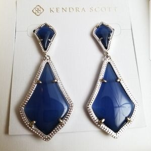 NWT Kendra Scott Navy Alexa Earrings in Silver